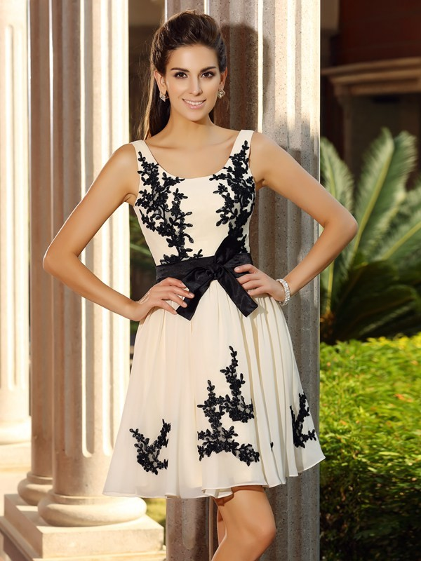 Short/Mini A-Line/Princess Square Sleeveless Applique Chiffon Dresses