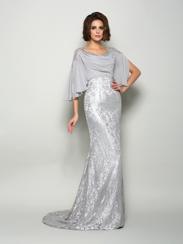 Sweep/Brush Train Trumpet/Mermaid Scoop 1/2 Sleeves Lace Chiffon Mother of the Bride Dresses