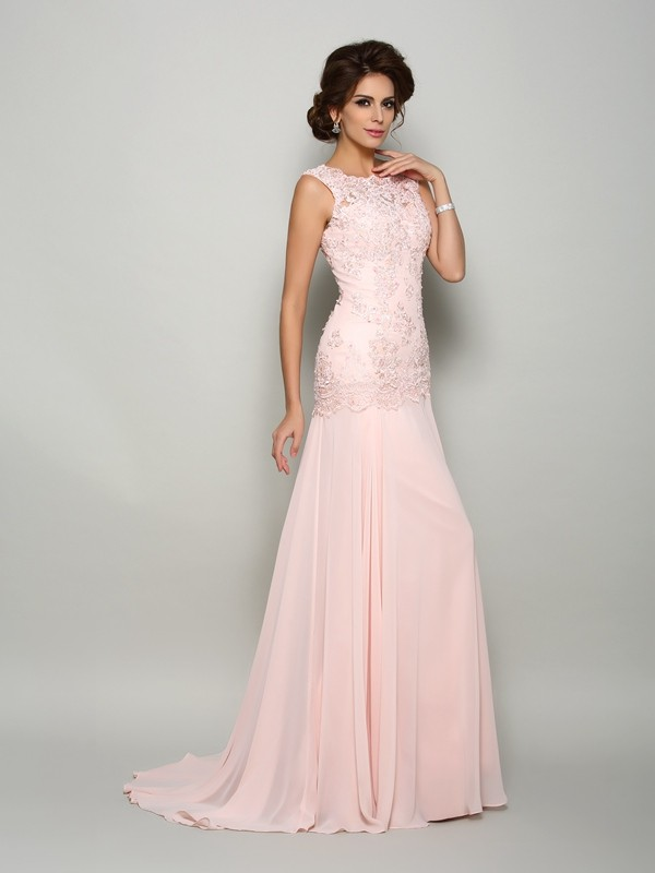Sweep/Brush Train Trumpet/Mermaid Scoop Sleeveless Beading Chiffon Mother of the Bride Dresses