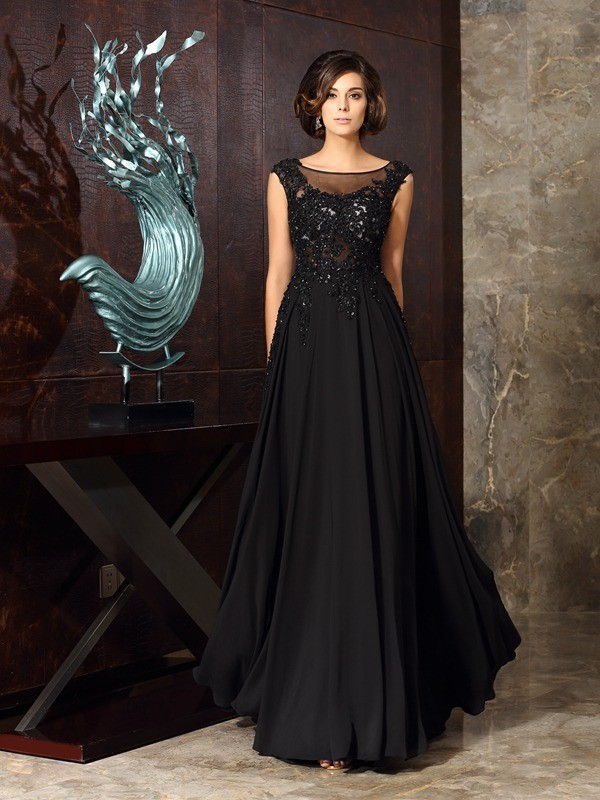 Floor-Length A-Line/Princess Scoop Sleeveless Applique Chiffon Mother of the Bride Dresses