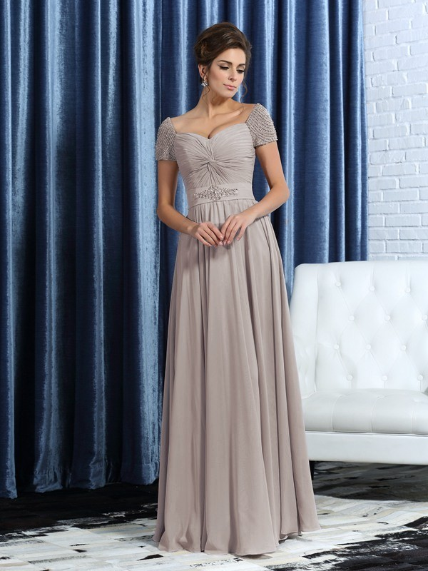 Ankle-Length A-Line/Princess Sweetheart Short Sleeves Beading Chiffon Mother of the Bride Dresses