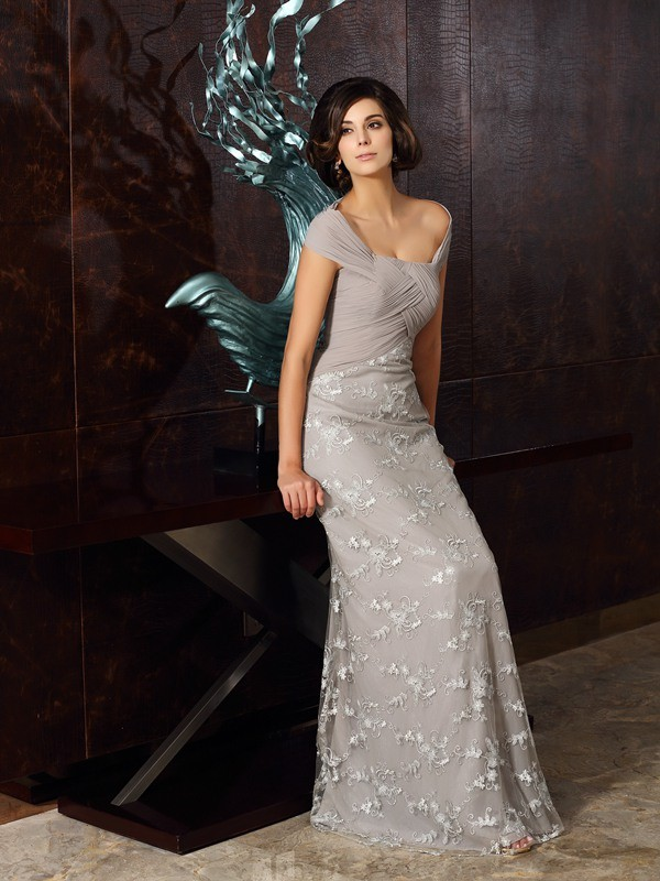 Floor-Length A-Line/Princess Off-the-Shoulder Sleeveless Applique Chiffon Mother of the Bride Dresses