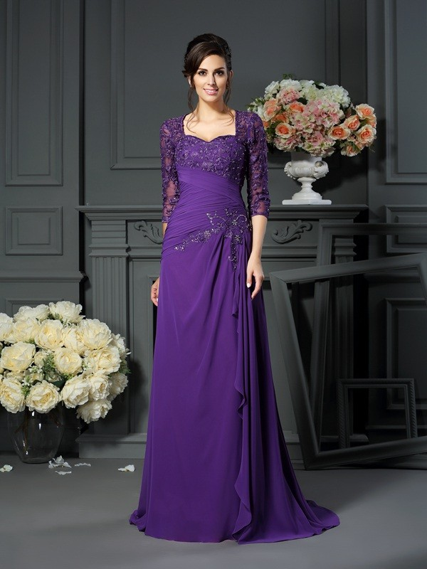 Floor-Length A-Line/Princess Sweetheart 1/2 Sleeves Applique Chiffon Mother of the Bride Dresses