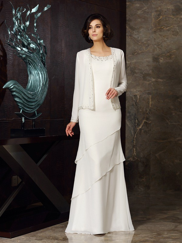 Floor-Length Sheath/Column Scoop Sleeveless Beading Chiffon Mother of the Bride Dresses