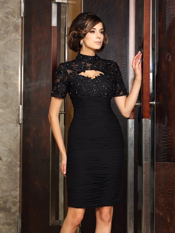 Knee-Length Sheath/Column High Neck Short Sleeves Beading Chiffon Mother of the Bride Dresses