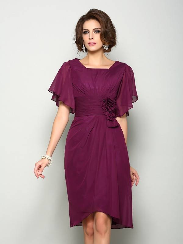 Knee-Length A-Line/Princess Square Short Sleeves Hand-Made Flower Chiffon Mother of the Bride Dresses