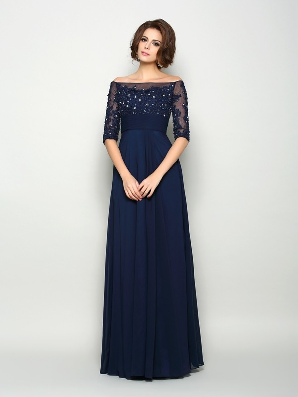 Floor-Length A-Line/Princess Off-the-Shoulder 1/2 Sleeves Beading Chiffon Mother of the Bride Dresses