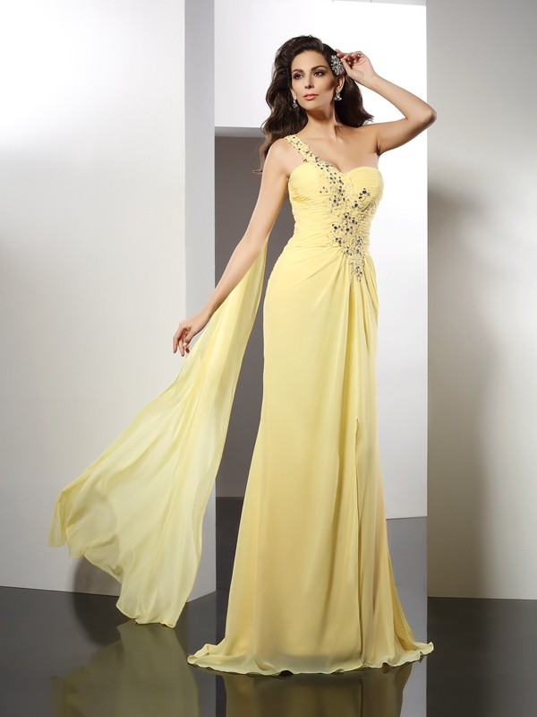 Floor-Length A-Line/Princess One-Shoulder Sleeveless Beading Chiffon Dresses
