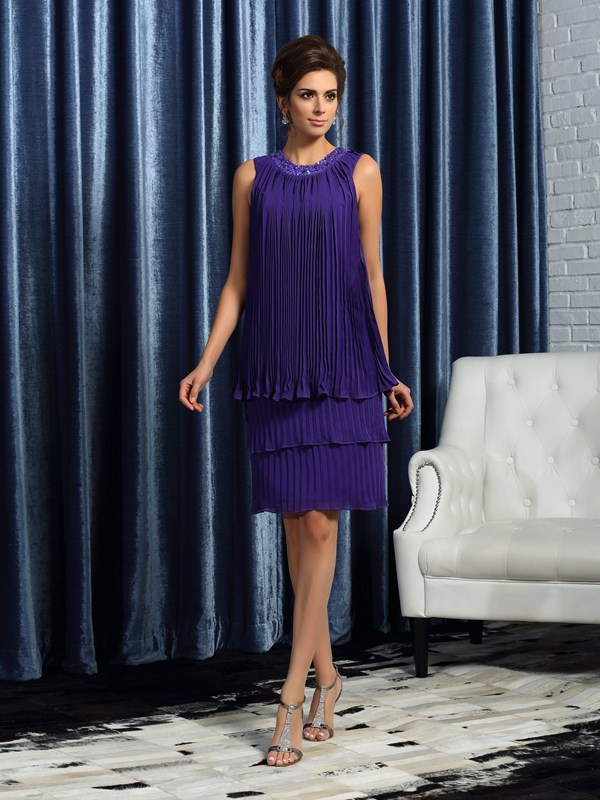 Knee-Length A-Line/Princess Jewel Sleeveless Pleats Chiffon Mother of the Bride Dresses