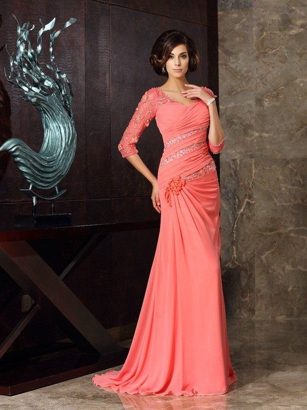 Sweep/Brush Train Trumpet/Mermaid Sweetheart 1/2 Sleeves Other Chiffon Mother of the Bride Dresses