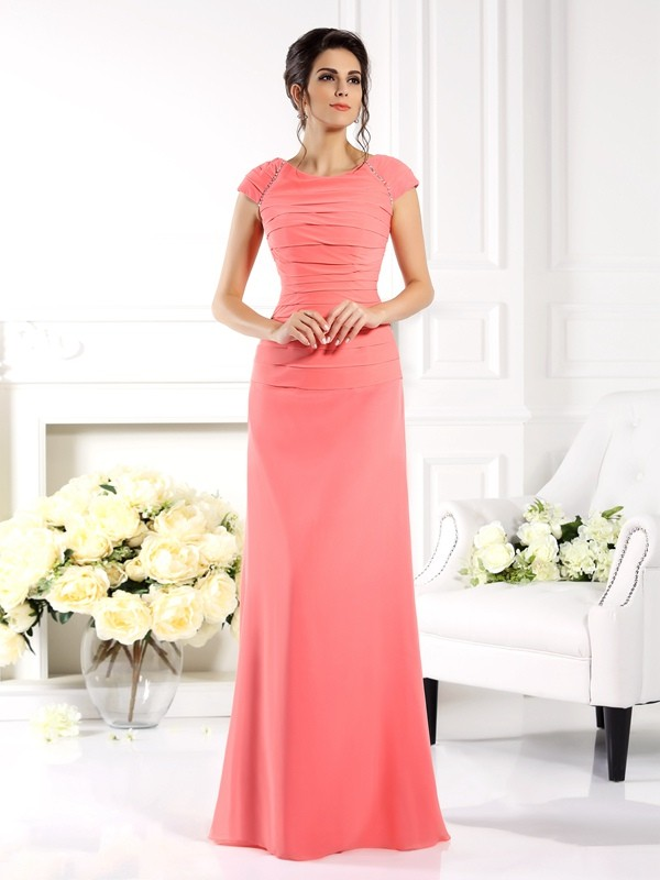 Floor-Length A-Line/Princess Bateau Short Sleeves Other Chiffon Mother of the Bride Dresses