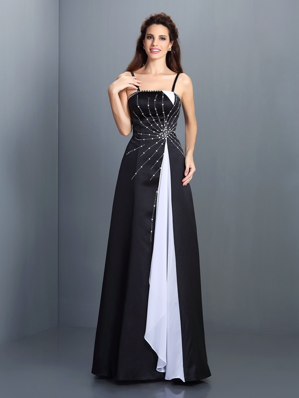 Floor-Length A-Line/Princess Spaghetti Straps Sleeveless Other Chiffon Dresses