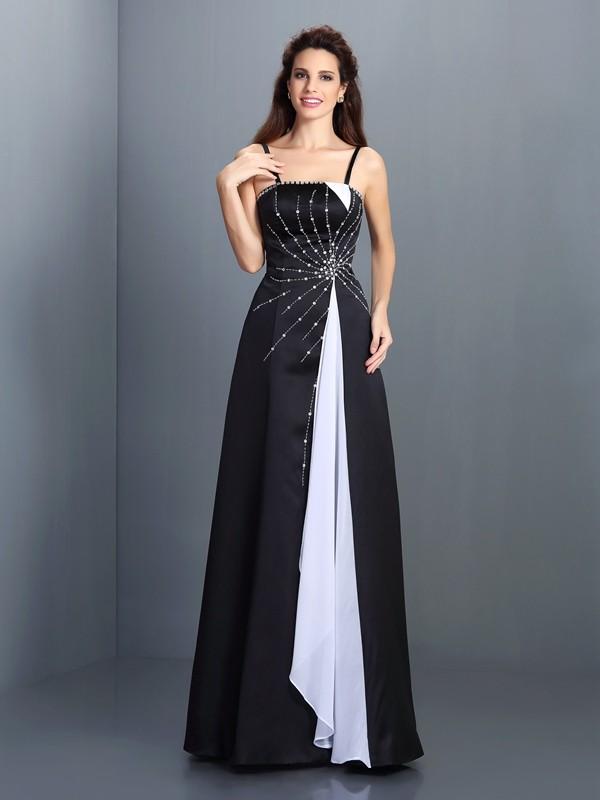Floor-Length A-Line/Princess Spaghetti Straps Sleeveless Other Chiffon Dresses