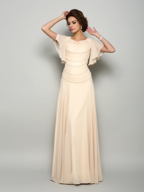 Floor-Length A-Line/Princess Square Short Sleeves Beading Chiffon Mother of the Bride Dresses