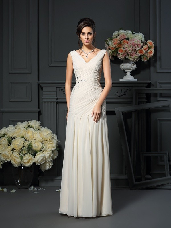 Floor-Length Sheath/Column V-neck Sleeveless Beading Chiffon Mother of the Bride Dresses