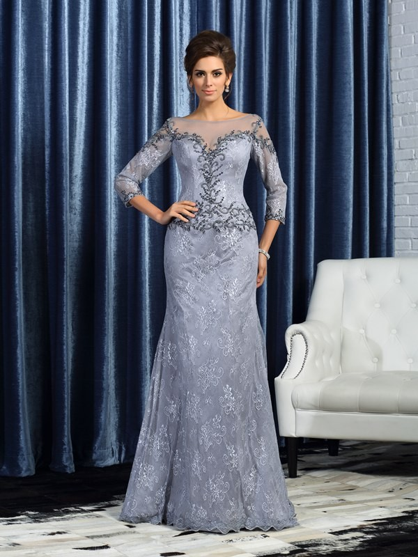 Sweep Train Trumpet/Mermaid Bateau 3/4 Sleeves Beading Lace Mother of the Bride Dresses