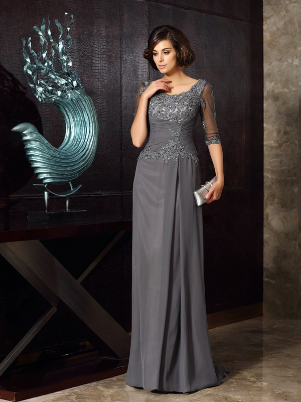 Floor-Length A-Line/Princess Scoop 1/2 Sleeves Beading Chiffon Mother of the Bride Dresses