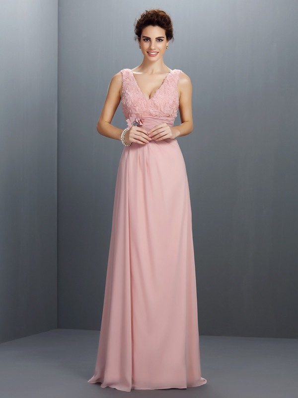 Sweep/Brush Train A-Line/Princess V-neck Sleeveless Beading Chiffon Dresses