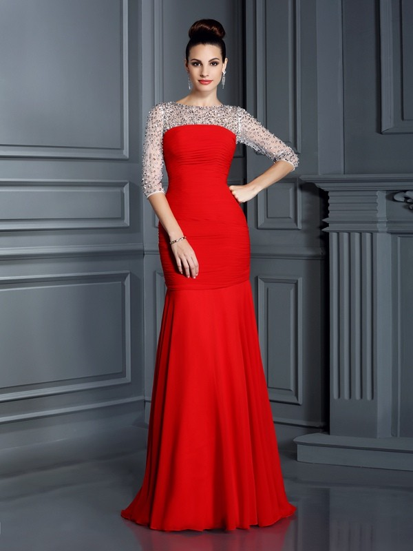 Floor-Length Trumpet/Mermaid Scoop 3/4 Sleeves Beading Chiffon Dresses