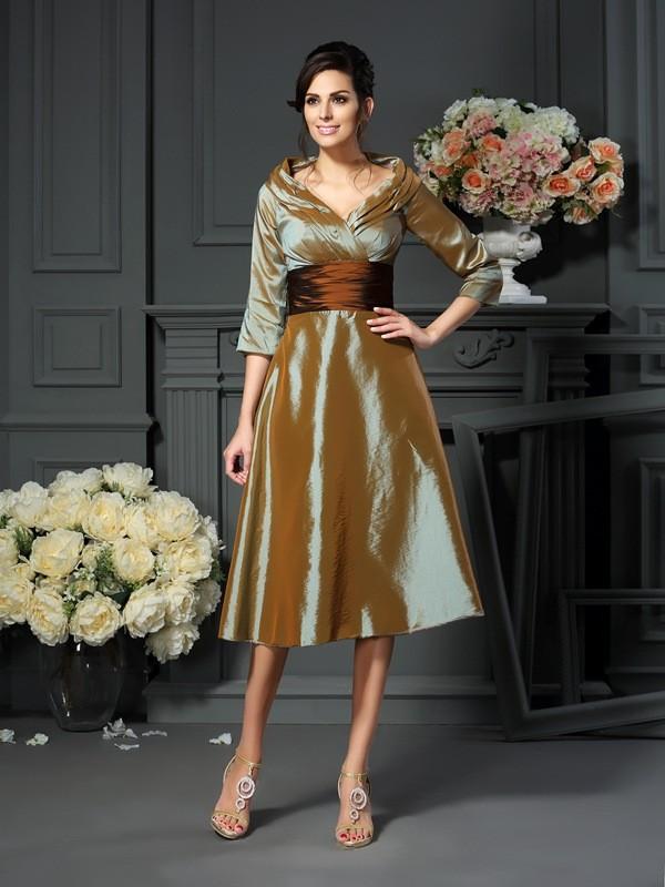 Tea-Length A-Line/Princess V-neck 3/4 Sleeves Other Taffeta Mother of the Bride Dresses