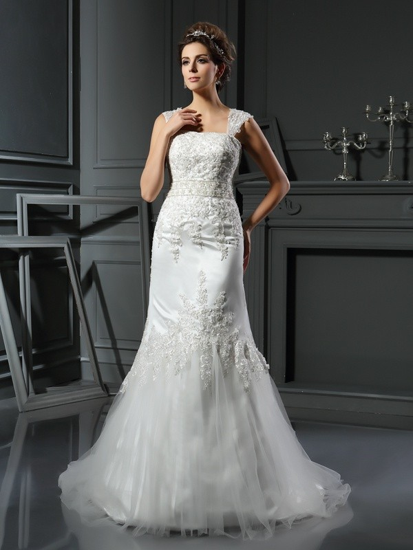Court Train Trumpet/Mermaid Straps Sleeveless Applique Satin Wedding Dresses