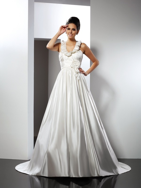 Chapel Train A-Line/Princess Halter Sleeveless Hand-Made Flower Satin Wedding Dresses