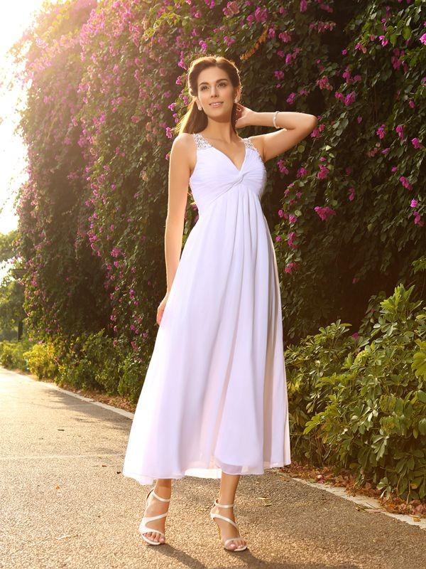 Ankle-Length A-Line/Princess V-neck Sleeveless Beading Chiffon Wedding Dresses