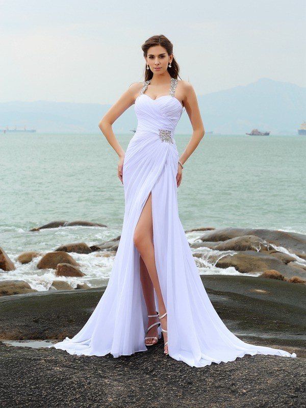 Chapel Train Sheath/Column Straps Sleeveless Beading Chiffon Wedding Dresses