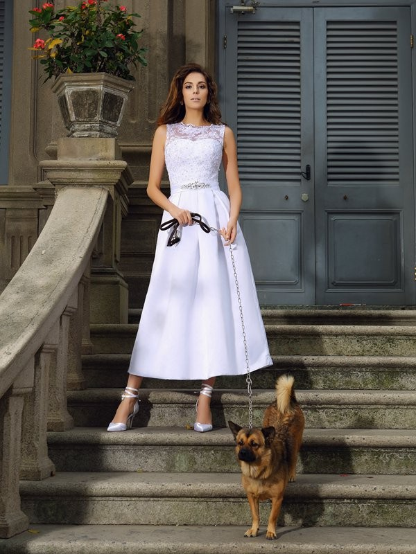 Ankle-Length A-Line/Princess Bateau Sleeveless Applique Satin Wedding Dresses