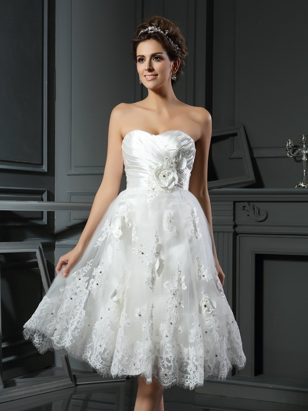 Short/Mini A-Line/Princess Sweetheart Sleeveless Ruched Satin Wedding Dresses