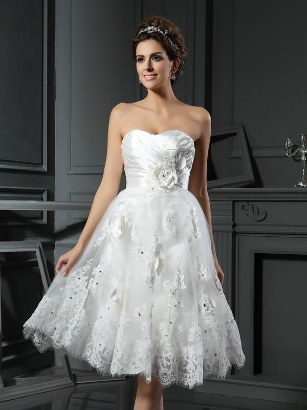 Short/Mini A-Line/Princess Sweetheart Sleeveless Ruched Satin Wedding Dresses