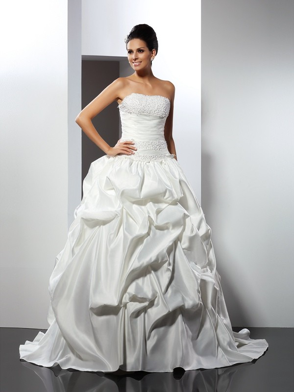 Cathedral Train Ball Gown Strapless Sleeveless Other Satin Wedding Dresses