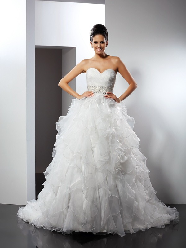Chapel Train Ball Gown Sweetheart Sleeveless Ruffles Organza Wedding Dresses