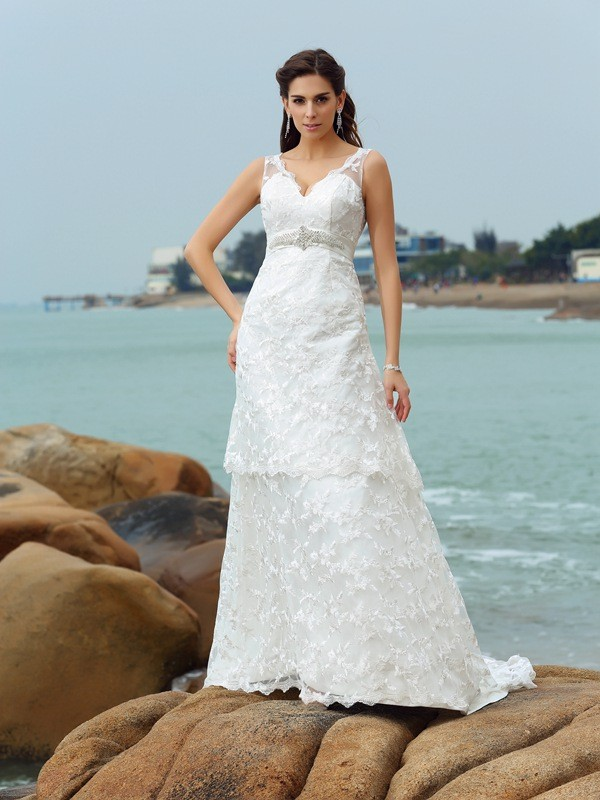 Chapel Train A-Line/Princess Straps Sleeveless Applique Satin Wedding Dresses