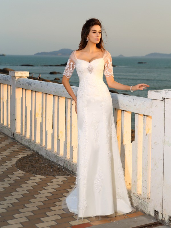 Floor-Length Sheath/Column Sweetheart Short Sleeves Applique Satin Wedding Dresses