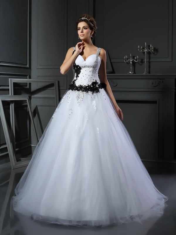 Chapel Train Ball Gown Straps Sleeveless Beading Tulle Wedding Dresses