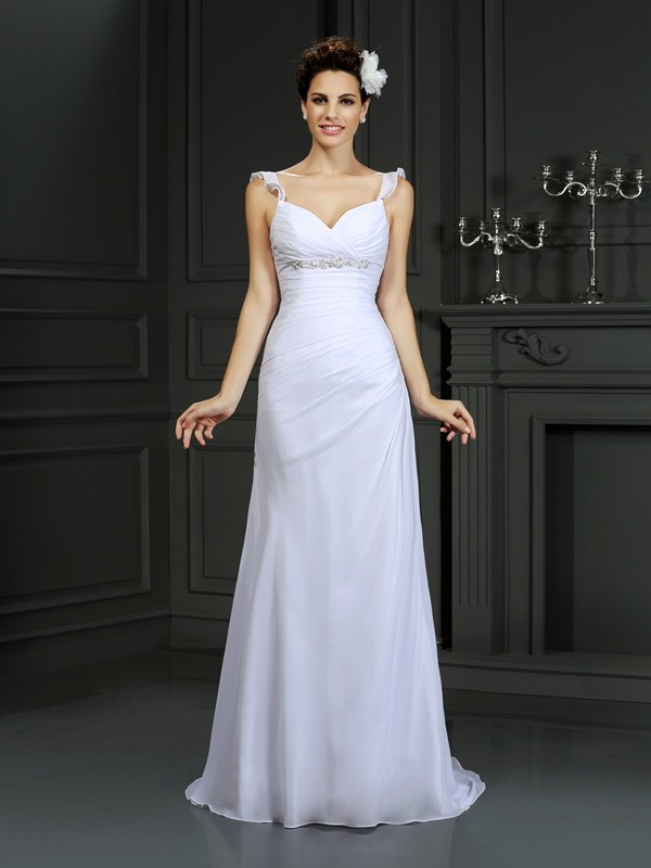 Court Train Trumpet/Mermaid Straps Sleeveless Beading Chiffon Wedding Dresses