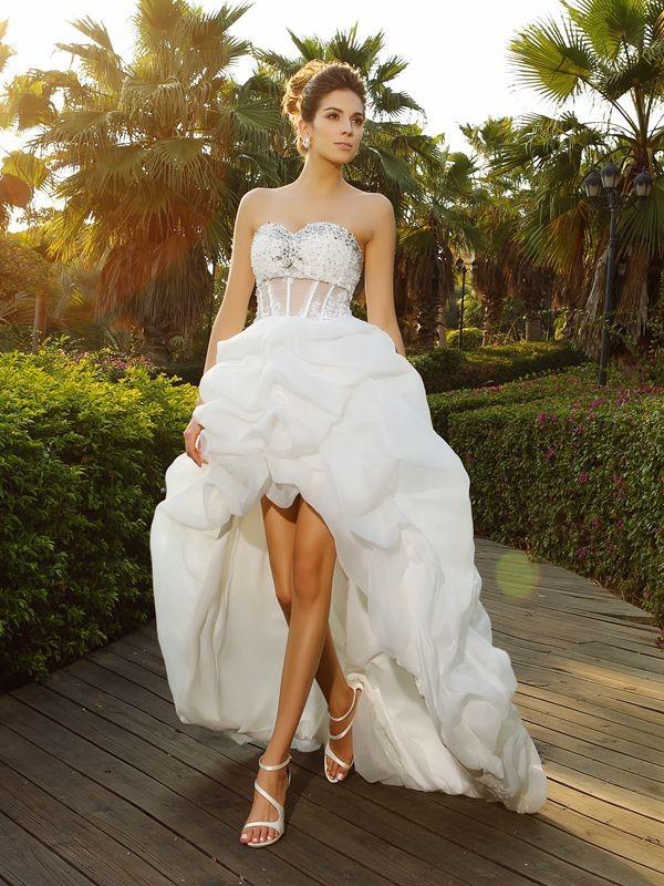 341be45dc8 Asymmetrical A-Line Princess Sweetheart Sleeveless Beading Organza Wedding  Dresses