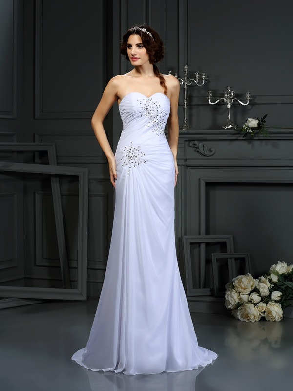 Sweep/Brush Train Sheath/Column Sweetheart Sleeveless Beading Chiffon Wedding Dresses