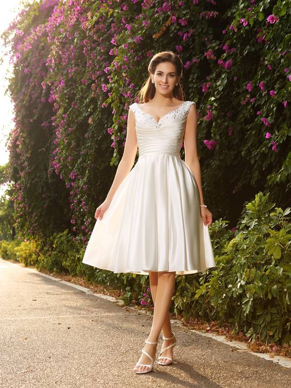 Knee-Length A-Line/Princess V-neck Sleeveless Beading Satin Wedding Dresses