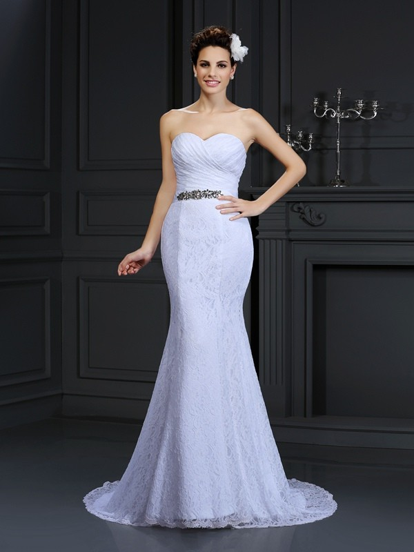 Chapel Train Trumpet/Mermaid Sweetheart Sleeveless Other Lace Wedding Dresses