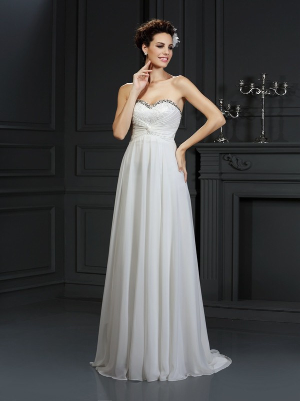 a2764da4cf8 Chapel Train A-Line Princess Sweetheart Sleeveless Ruffles Chiffon Wedding  Dresses