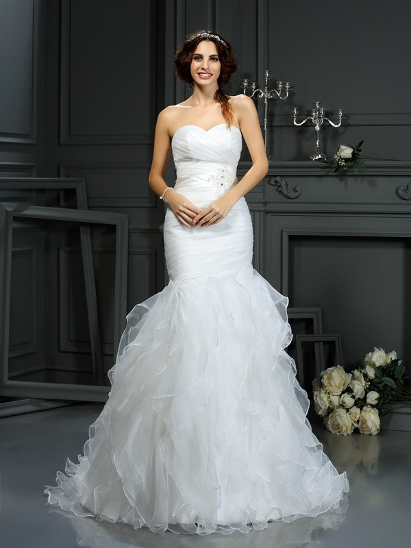 Court Train Trumpet/Mermaid Sweetheart Sleeveless Beading Organza Wedding Dresses
