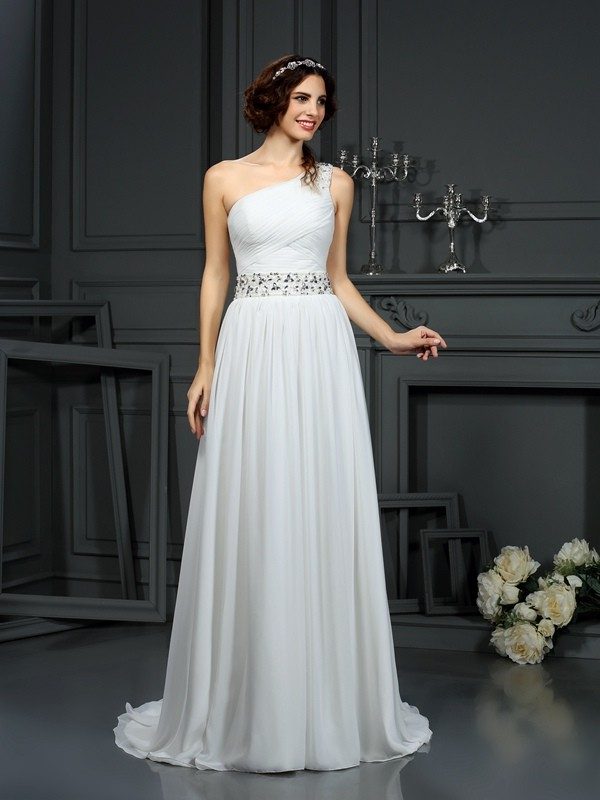 Court Train A-Line/Princess One-Shoulder Sleeveless Beading Chiffon Wedding Dresses