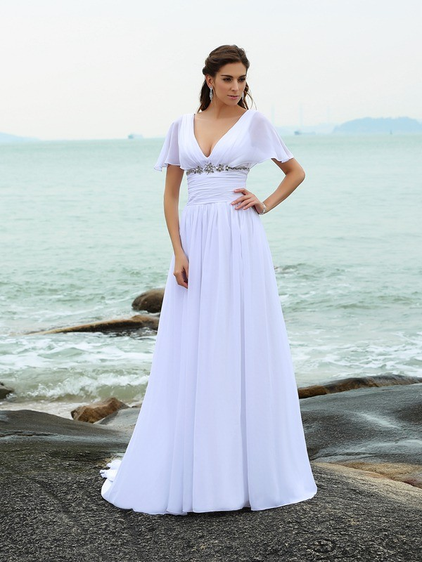 Sweep Train A-Line/Princess V-neck Short Sleeves Ruffles Chiffon Wedding Dresses