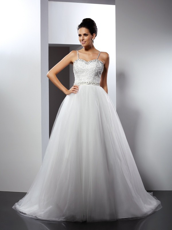 Chapel Train A-Line/Princess Spaghetti Straps Sleeveless Beading Tulle Wedding Dresses