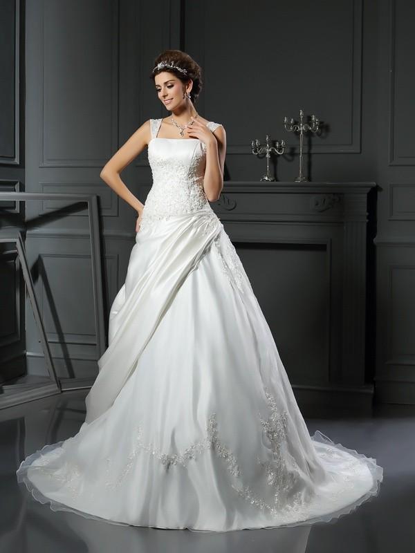 Chapel Train Ball Gown Straps Sleeveless Applique Satin Wedding Dresses