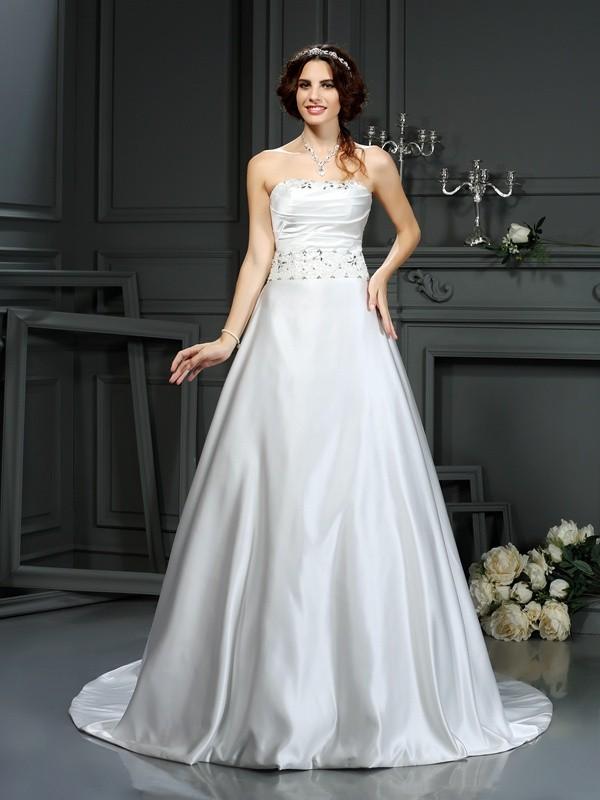 Court Train A-Line/Princess Strapless Sleeveless Beading Satin Wedding Dresses
