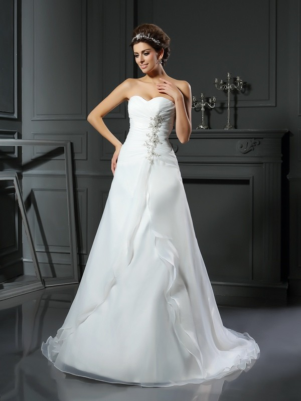 Chapel Train A-Line/Princess Sweetheart Sleeveless Ruched Satin Wedding Dresses