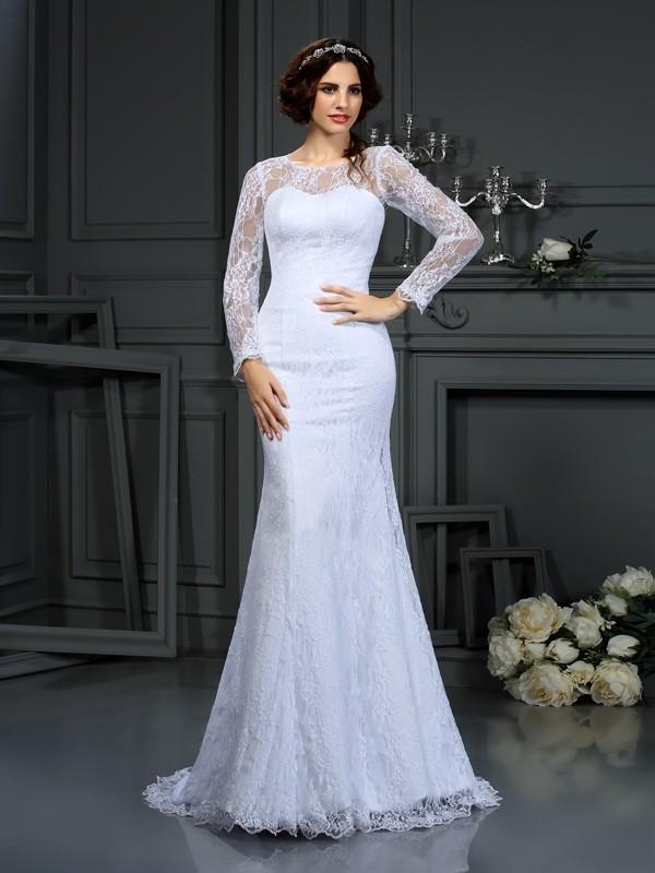 Court Train Sheath/Column Scoop Long Sleeves Lace Satin Wedding Dresses
